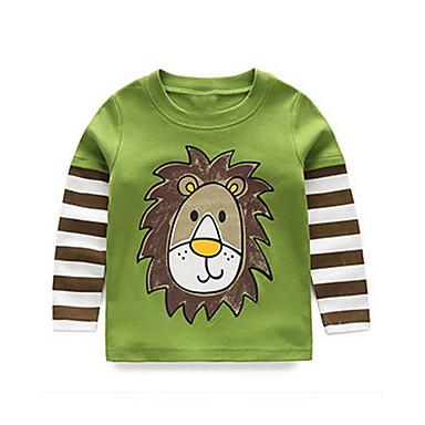 baratos Camisas para Meninos-Bébé Para Meninos Activo Diário Sólido Listrado Geométrica Manga Longa Padrão Camiseta Verde