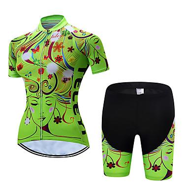 TELEYI Žene Kratkih rukava Biciklistička majica s kratkim hlačama Zelen Plava Pink Cvjetni / Botanički Bicikl Sportska odijela Prozračnost Ovlaživanje Quick dry Sportski Poliester Cvjetni / Botanički