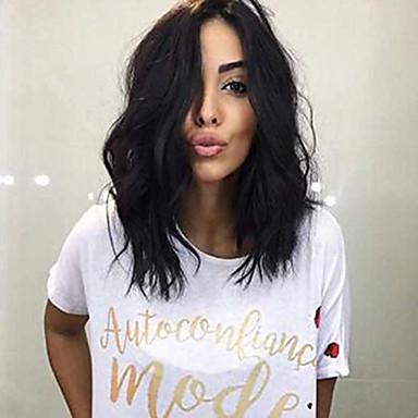 Remy kosa Full Lace Lace Front Perika Asimetrična frizura Wendy stil Brazilska kosa Prirodne kovrče Natural Perika 130% 150% 180% Gustoća kose Modni dizajn Nježno Žene Najbolja kvaliteta Udoban Žene