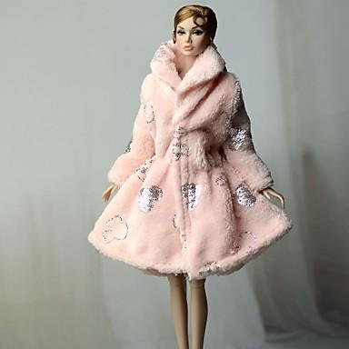 Mäntel / Jacken Mantel / Oberteil Für Barbiedoll Rosa Vließstoff / Korallenfleece Mantel Für Mädchen Puppe Spielzeug