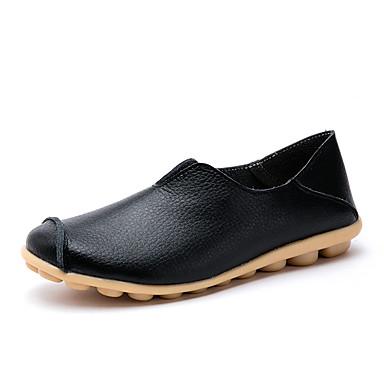 בגדי ריקוד נשים נעליים ללא שרוכים שטוח בוהן עגולה עור וינטאג' / בריטי הליכה קיץ & אביב / אביב קיץ שחור / כתום ושחור / לבן / יומי