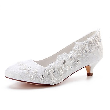1d15921431 Women's Satin Spring & Fall Wedding Shoes Kitten Heel Round Toe Crystal /  Pearl Ivory / Party & Evening