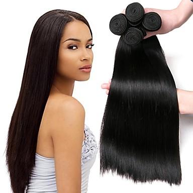 4 paketića Peruanska kosa Ravan kroj Ljudska kosa Ljudske kose plete Bundle kose Ekstenzije od ljudske kose 8-28 inch Prirodna boja Isprepliće ljudske kose Svilenkast Smooth Rasprodaja Proširenja