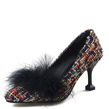 d23b4bb823d Women s Linen Spring   Fall Heels Stiletto Heel Pointed Toe Feather Black    Beige   Party   Evening