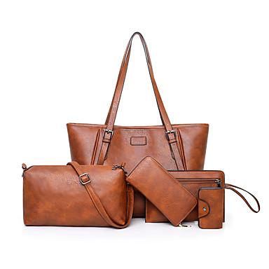 Žene Patent-zatvarač PU Bag Setovi Kompleti za vrećice Jedna barva 5 kom Crn / Braon / purpurna boja / Jesen zima