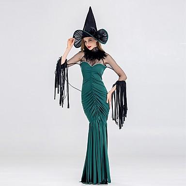 vještica Žene Odrasli Halloween Božić Božić Halloween Karneval Festival / Praznik Polyster odjeća Tamno zelena Jednobojni Božić