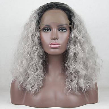 Prednja perika od sintetičkog čipke Valovita kosa Loose Curl Stil Slobodni dio Lace Front Perika Ombre Crna / siva Sintentička kosa 12-16 inch Žene Prilagodljiv Otporan na toplinu Elastičan Ombre