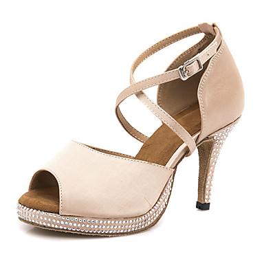0300cdf481 Mulheres Sapatos de Dança Latina Cetim Sandália   Salto Detalhes em Cristal    Purpurina Salto Alto Magro Sapatos de Dança Nú