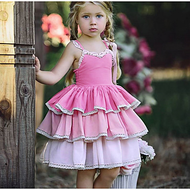 cheap Girls' Sweet Dresses-Kids Girls' Sweet Daily Solid Colored Lace Sleeveless Knee-length Polyester Dress Pink