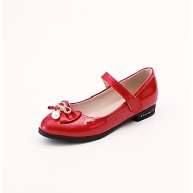 رخيصةأون صنادل نسائية-نسائي جلد محفوظ / PU الربيع كاجوال / شيوع صنادل كعب مسطخ أمام الحذاء على شكل دائري عقدة / حصى / لؤلؤ تقليد أبيض / أسود / أحمر