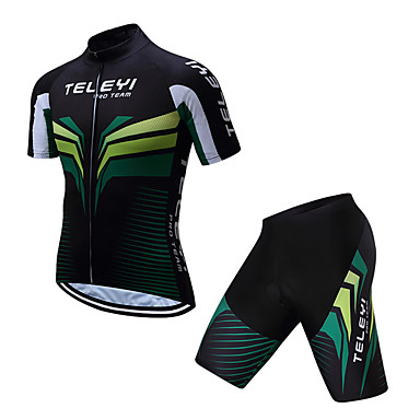 TELEYI Men s Short Sleeve Cycling Jersey with Shorts - Black   Green  Stripes Bike Clothing Suit 4d87ac4c4