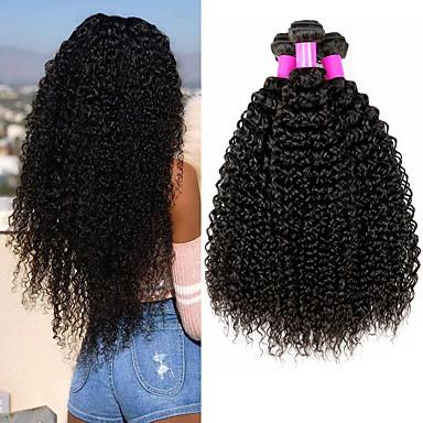 baratos Extensões de Cabelo Natural-4 pacotes Cabelo Brasileiro Encaracolado Kinky Curly Cabelo Virgem Peça para Cabeça Cabelo Humano Ondulado Cabelo Bundle 8-28 polegada Côr Natural Tramas de cabelo humano S. Valentim Sedoso Melhor