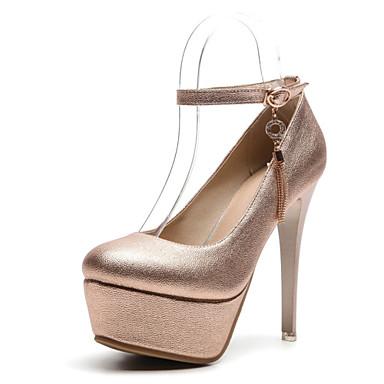 Kadın's Ayakkabı Sentetikler Sonbahar Topuklular Stiletto Topuk Yuvarlak Uçlu Düğün / Parti ve Gece için Altın / Gümüş / Pembe