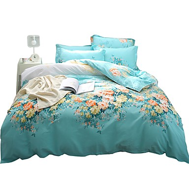 Duvet Cover Sets Floral 100% Cotton Printed 4 PieceBedding Sets