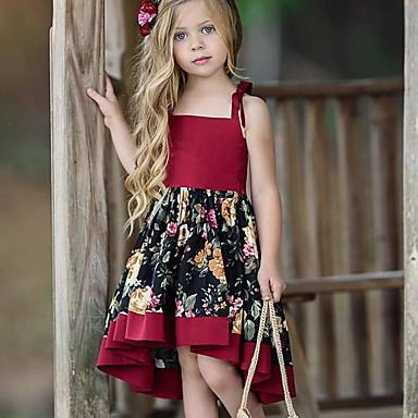 baratos Princesa-Infantil Para Meninas Doce Diário Floral Estampado Sem Manga Assimétrico Vestido Vermelho