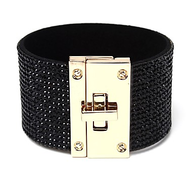 baratos Bangle-Mulheres Claro Pulseira larga Clássico Estiloso Simples PU Leather Pulseira de jóias Dourado / Branco / Preto Para Presente Encontro / Strass