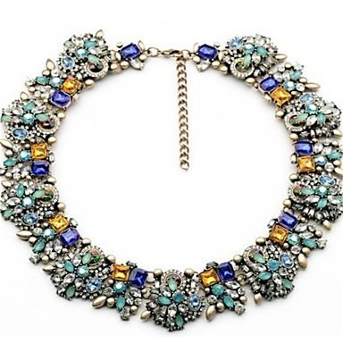 levne Dámské šperky-Dámské Vícebarevná Náhrdelník Silný řetězec stylové Klasické Barevná Štras Slitina Modrá 47 cm Náhrdelníky Šperky 1ks Pro Párty Denní