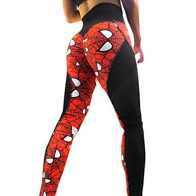 2f5196e595b76 Women's See Through Yoga Pants Red black Sports Print Spandex Mesh High  Rise Tights Leggings Zumba
