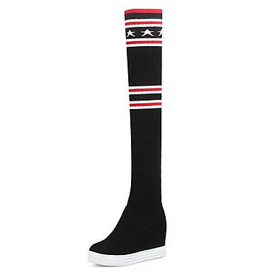 povoljno Ženske čizme-Žene PU Jesen zima Čizme Wedge Heel Okrugli Toe Čizme preko koljena Crn / Prugasti uzorak