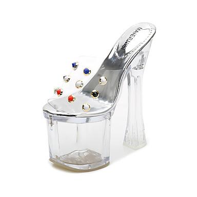 povoljno Očisti cipele i torbe-Žene PVC Ljeto minimalizam Sandale Deblja visoka potpetica Peep Toe Vedro / Zabava i večer