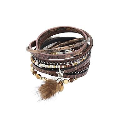 abordables Bracelet-Bracelets en cuir Bracelets de mémoire Femme Fantaisie Cuir Mode British Bracelet Bijoux Café Vert pour Cadeau Quotidien