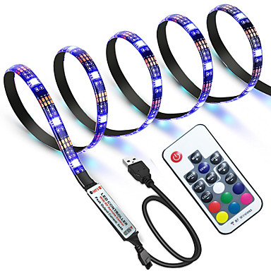 zdm waterdicht 1 m rgb strip verlichting 60 leds 5050 smd 1 m led strip licht / 17-key afstandsbediening rgb tv achtergrond licht ip65