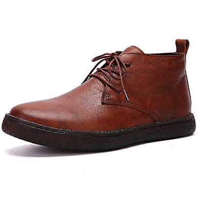 Muškarci Fashion Boots Mekana koža Jesen zima Klasik / Ležerne prilike Čizme Ugrijati Čizme do pola lista Crn / Braon