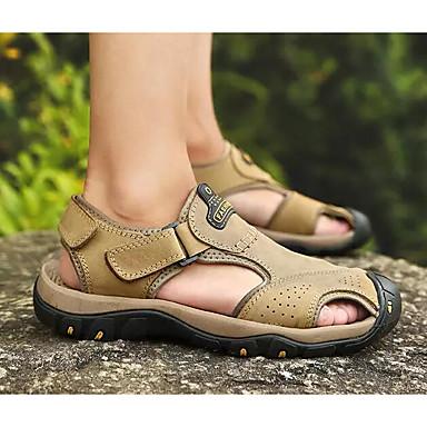 Muškarci Udobne cipele Koža Ljeto Sandale Svjetlosmeđ / Tamno smeđa / Žutomrk