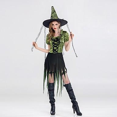 vještica Žene Odrasli Halloween Božić Božić Halloween Karneval Festival / Praznik Polyster odjeća Zelen Jednobojni Božić