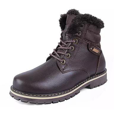 Муж. Комфортная обувь Полиуретан Зима Ботинки Сапоги до середины икры Черный / Коричневый