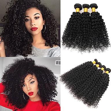 3 paketa Peruanska kosa Kinky Curly Ljudska kosa Netretirana  ljudske kose Headpiece Ljudske kose plete Styling kose 8-28 inch Prirodna boja Isprepliće ljudske kose Nježno Sexy Lady Najbolja kvaliteta