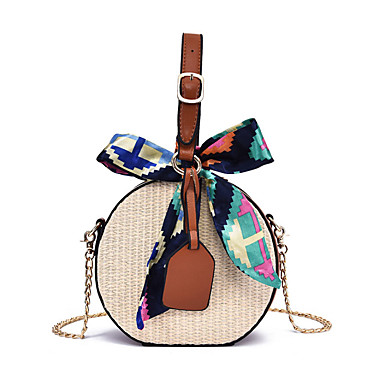 cheap Going to the beach-Women's Bags Straw Shoulder Messenger Bag / Top Handle Bag Bow(s) / Zipper Color Block Blushing Pink / Yellow / Brown / Straw Bag / Fall & Winter