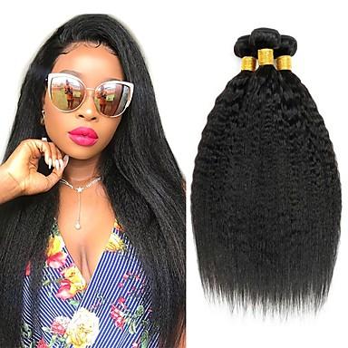 3 paketa Brazilska kosa Kinky Ravno Yaki Straight Ljudska kosa Ljudske kose plete Styling kose Bundle kose 8-28 inch Prirodna boja Isprepliće ljudske kose Svilenkast Smooth proširenje Proširenja