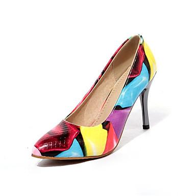 povoljno Ženske cipele-Žene Lakirana koža / Mikrovlakana Proljeće & Jesen Cipele na petu Stiletto potpetica Krakova Toe Crn / Braon / Plava