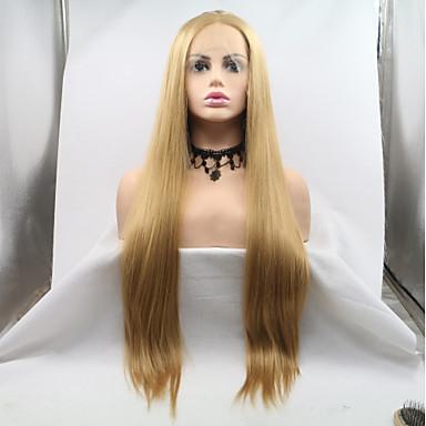 Prednja perika od sintetičkog čipke Kinky Ravno Stil Stepenasta frizura Lace Front Perika Zlatna Svijetlo zlatna Sintentička kosa 24 inch Žene Žene Zlatna Perika Dug Sylvia 130% Ljudski kose Gustoća