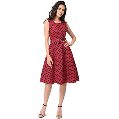 cf5d3bfa429 Audrey Hepburn Polka Dots Retro   Vintage 1950s Costume Women s Dress White    Black   Red
