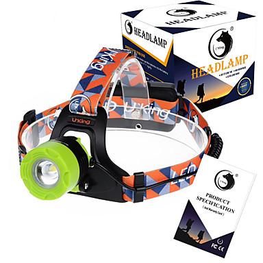 billige Lommelykter & campinglykter-U'King ZQ-X8001 Hodelykter Frontlys til sykkel 2000LM LED LED 1 emittere 3 lys tilstand Justerbart Fokus Oppladbar Mulighet for demping Camping / Vandring / Grotte Udforskning Fisking Multifunktion