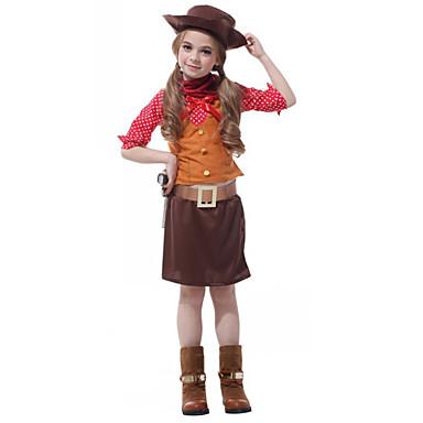 Westworld Západní kovboj Kovbojské kostýmy Dívčí Dětské Úbory Aktivní Vánoce Halloween Karneval Festival / Svátek Polyester Vybavení Kávová Puntíky