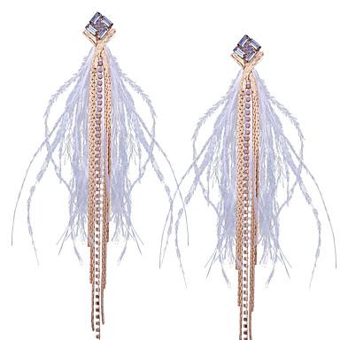 levne Dámské šperky-Dámské Bílá Visací náušnice Třásně Peří Cikánský Bristké Peří Náušnice Šperky Zlatá Pro Podium Maturitní ples Slib 1 Pair