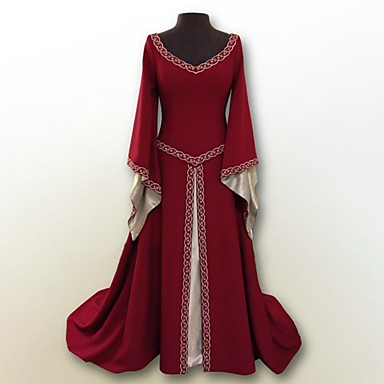 Arabian Retro / Vintage Medieval Costume Women's Dress Arabian Dress Abaya Hijab / Khimar Red / Green / Blue Vintage Cosplay Party Prom Long Sleeve Flare Sleeve Floor Length Long Length Plus Size