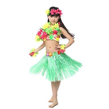 הוואי רקדנית החולה הוואי תלבושות חצאית דשא בנות מבוגרים אתני בהשפעת וינטאג' חג המולד האלווין (ליל כל הקדושים) קרנבל פסטיבל / חג שילוב כותנה / פשתן polyster תלבושות אודם / צהוב / ירוק פרחוני