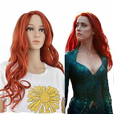 Perruque Synthétique Bouclé Rouge Séparation profonde Rouge Cheveux Synthétiques 24 pouce Femme Synthétique Rouge Perruque Long Sans bonnet