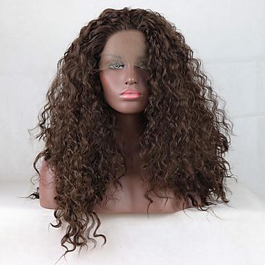Pruik Lace Front Synthetisch Haar Dames Gekruld Bruin Gratis deel 180% Human Hair Density Synthetisch haar 18-26 inch(es) Verstelbaar / Kant / Hittebestendig Bruin Pruik Lang Kanten Voorkant