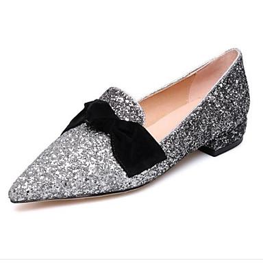 d15efd5b134a9 Mujer Vaquero Primavera Dulce   Minimalismo Zapatos de taco bajo y Slip-On Tacón  Bajo Dedo cuadrada Remache Blanco   Negro   Azul Claro