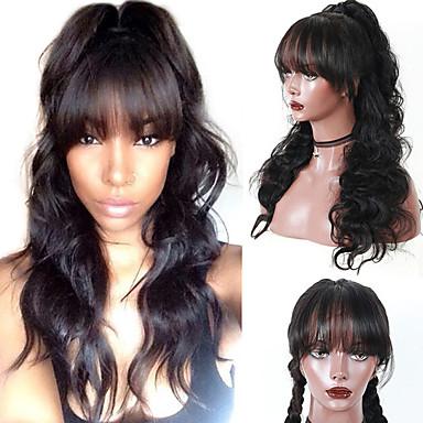 Włosy virgin 360 Przednie Peruka Fryzura asymetryczna styl Włosy brazylijskie Body wave Peruka 130% Gęstość włosów Damskie Nowe Bezpieczeństwo Naturalna linia włosów 100% Dziewica Natutalne Damskie