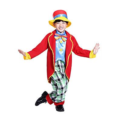 Burlesque Pagliaccio Circo Vestito Da Serata Elegante Per Bambini Da Ragazzo Divertenti Halloween Natale Halloween Carnevale Feste - Vacanze Poliestere Rosso Costumi Carnevale Scozzese - A Quadri #07105494