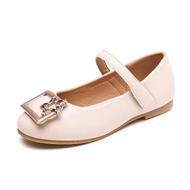 hesapli Kız Çocuk Ayakkabıları-Genç Kız PU Düz Ayakkabılar Bebek (9 milyon 4ys) / Küçük Çocuklar (4-7ys) / Büyük Çocuklar (7 yaş +) Rahat Siyah / Bej / Pembe İlkbahar & Kış