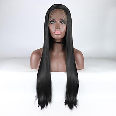 Parrucche Lace Front Sintetiche Liscio Nero Parte di mezzo Nero Naturale 180% Densità dei capelli umani Capelli sintetici 18-26 pollice Per donna Regolabili / Resistente al calore / Elastico Nero