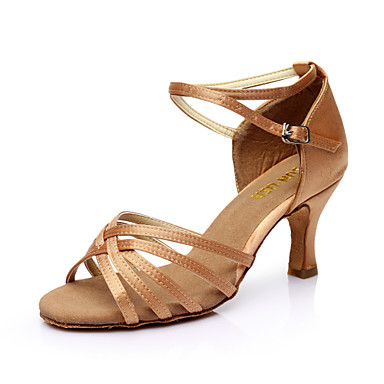 cheap Dance Shoes-Women's Latin Shoes / Salsa Shoes PU Leather / Satin Sandal Buckle Customized Heel Customizable Dance Shoes Silver / Brown / Gold / EU40