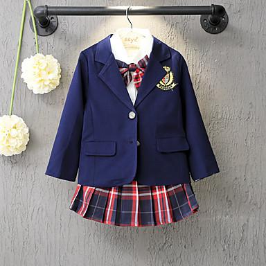 baratos Jaquetas & Casacos para Meninas-Infantil Para Meninas Activo Moda de Rua Diário Escola Sólido Manga Longa Padrão Terno & Blazer Azul Marinha